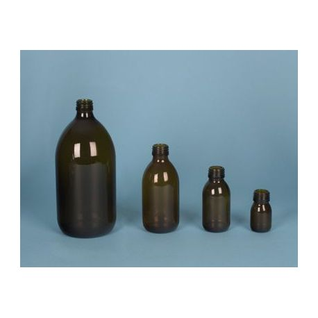Flascó vidre topazi amb tap rosca D-28. Capacitat 500 ml