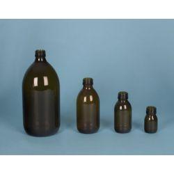 Frasco vidrio topacio con tapón rosca D-28. Capacidad 1000 ml