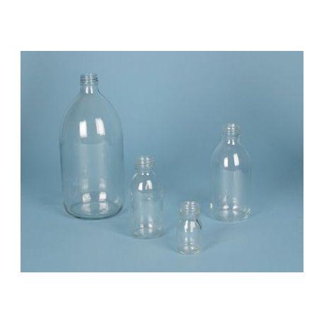Frasco vidrio incoloro con tapón rosca D-28. Capacidad 250 ml