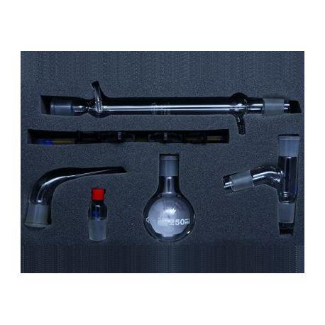 Equipo química destilación simple esmerilado 29/32. Caja 6 piezas
