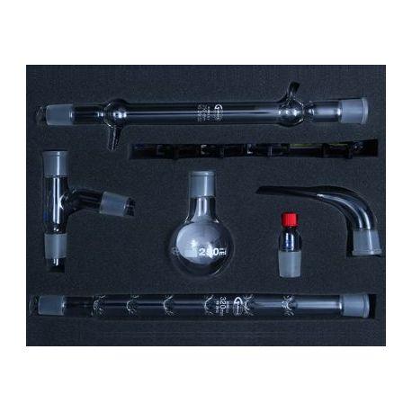 Equipo química destilación fraccionada esmerilado 29/32. Caja 7 piezas