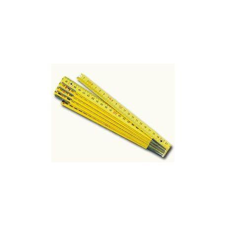 Metre plegable fusta groc 5 seccions. Longitud 1 metre