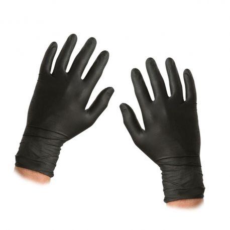 Guants examen nitril negres talla 7-8 mitjans. Capsa 100 unitats