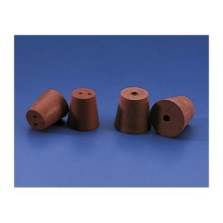 Tapón cónico goma roja 1 orificio BMH-039. Medidas 13x10x18 mm