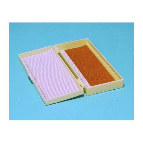 Capsa guardar portaobjectes plàstic BPG-010. Capacitat 50 peces
