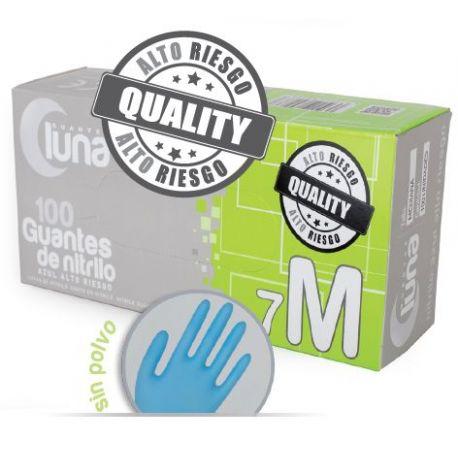 Guantes examen nitrilo alto riesgo talla M (7-8) GNAR2. Caja 100 unidades