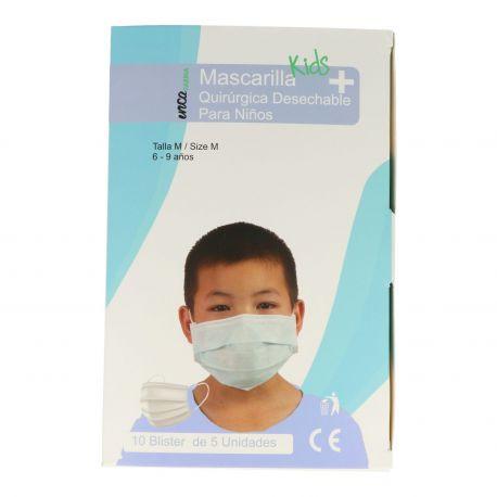 Mascaretes quirúrgiques infantils polipropilè 3 capes tipus IIR. Capsa 50 unitats