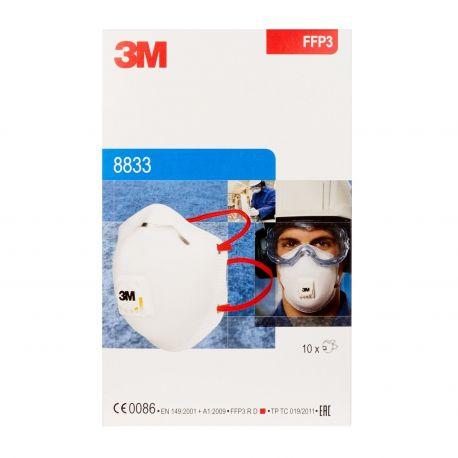 Mascaretes autofiltrants FFP3 amb vàlvula 3M 8833. Capsa 10 unitats