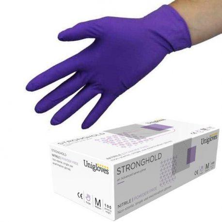 Guants examen nitril violeta alta protecció talla M (7-8). Capsa 100 unitats