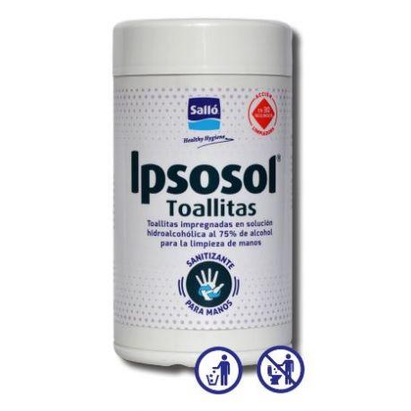 Toallitas hidroalcohólicas antisépticas Ipsosol. Bote 80 unidades
